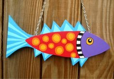 Funky Fish sculpture hanging by KellyGstudio on Etsy, $35.00