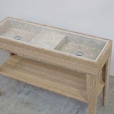 Umi M Box double sink | Breccie - dubbele lavabo in natuursteen - op bamboe onderstel