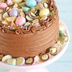 mini egg whoppers This pretty pastel Chocolate Malt Cake starts with a perfect chocolate cake recipe, then is topped with a delicious chocolate malt frosting! Chocolate Malt Cake, Perfect Chocolate Cake, Easter Chocolate, Delicious Chocolate, Chocolate Lovers, Chocolate Orange, Chocolate Recipes, Easter Bunny Cake, Easter Treats