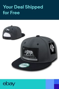 c1628016afafd California Republic Flag Bear Charcoal Black Flat Snapback Snap Back Cap Hat