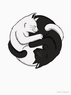 'Yin Yang Katzen' T-Shirt von Mary Capaldi Ying Y Yang, Yin Yang Art, Illustration Inspiration, Illustration Art, Cat Drawing, Manga Drawing, Cat Tattoo Designs, Animal Drawings, Cat Art