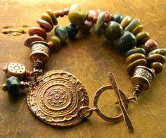 Ocean Jasper Bracelet Copper Medallion Trade Beads OOAK. $73.00, via Etsy.