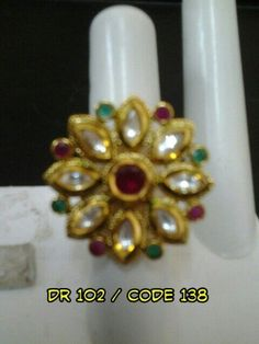 KUNDAN POLKI FINGER RING #AmericanDiamonds #Suitfabric