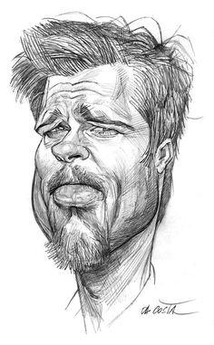 Brad Pitt by Charles DaCosta Cartoon People, Cartoon Faces, Cartoon Drawings, Cartoon Art, Pencil Drawings, Funny Caricatures, Celebrity Caricatures, Celebrity Drawings, Brad Pitt