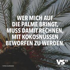 Wer mich auf die Palme bringt, muss damit rechnen, mit Kokosnüssen beworfen zu werden. - VISUAL STATEMENTS®
