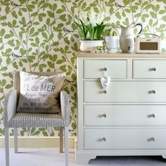 Hallway with green bird-design wallpaper | How to decorate with green | housetohome.co.uk