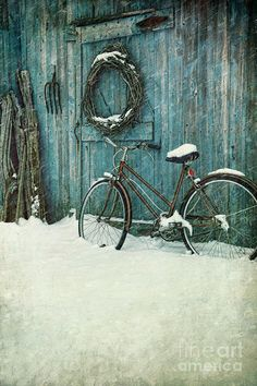 Old bicycle leaning against barn Photograph  - Old bicycle leaning against barn Fine Art Print