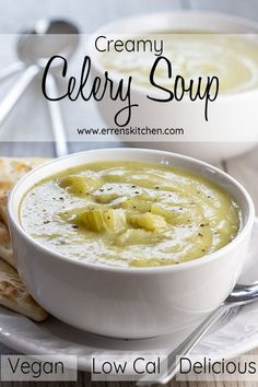 Celery Soup This easy recipe for Creamy Celery Soup has no cream, making it a low-fat, vegan version of cream of celery soup that's healthy and delicious.This easy recipe for Creamy Celery Soup has no cream, making it a low-fat, vegan version of c. Vegetarian Cooking, Cooking Recipes, Low Fat Vegan Recipes, Celery Recipes Healthy, Recipes With Celery, Celery Ideas, Celery Snacks, Vegetarian Lunch, Italian Cooking