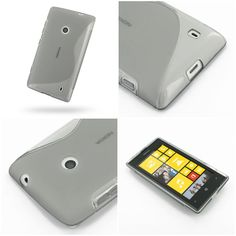 PDair Soft Plastic Case for Nokia Lumia 525 (Grey/S Shape pattern)