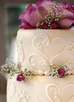 Pretty wedding cake up close