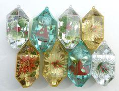 Vintage Jewel Brite Plastic Christmas Ornaments