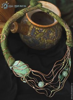 """Купить """"Кольская весна"""" колье - эксклюзивные украшения, единственный экземпляр, медь, салатовый, медь патинированная"""