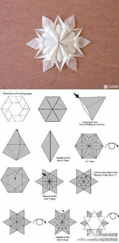 Origami Best Snowflake Patterns - See more ideas about snowflake pattern christmas crafts and paper snowflakes. Christmas snowflake origami instructions got lost at about 8 min into th. Diy Origami, Snowflake Origami, Origami And Kirigami, Paper Crafts Origami, Christmas Origami, Origami Tutorial, Paper Crafting, Christmas Crafts, Oragami