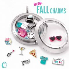 Scrubs, Pizza, Martini, Yoga, Scrapbook, Whisk, baby block, Thank You, family, sunglasses charms! Origami Owl has done it again!! Lovely!! cathygough.origamiowl.com