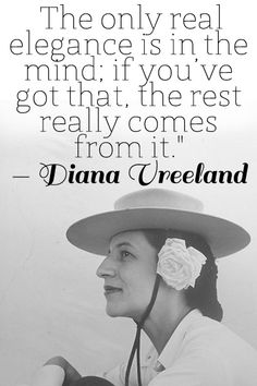 Diana Vreeland (1906-1989 ) was a noted columnist and editor in the field of fashion. She worked for the fashion magazines Harper's Bazaar and Vogue and as a special consultant at the Costume Institute of the Metropolitan Museum of Art.