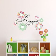 Patterned Flowers Custom Name Printed Fabric Removable Wall Decal Sticker