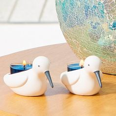 Duo de porte-bougies à réchaud - Alouette de mer Porcelaine.