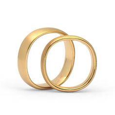 """Trauringe in 750 Gelbgold """"Fingerform"""" Ringform: """"Fingerform"""" außen abgerundet, innen leicht bombiert. Dadurch entsteht ein angenehmer Tragekomfort. Damenring, Herrenring: 5,5mm breit, 1,8mm stark Oberfläche: mattiert"""