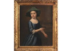 Thomas Hudson 1701-1779     Attributed to Thomas Hudson, 18th Century Portrait of a girl with goldfinch oil on canvas 72 x 58cm.