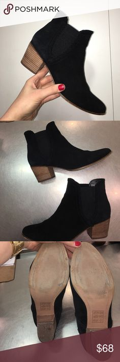 Genuine Suede Black ALDO booties wmns 10/11 These booties are like NEW only worn a couple of times, they are a womens size 11 (I'm anwomens size 10 but I always buy one size up in Aldo Shoes because I put a terry cloth insole in them for extra comfort AND the insoles are WASHABLE!!!!! So no need for socks) these booties WILL come with a pair of terry cloth insoles (can wash hen in washing machine just do not dry☺) the heel height is 2.25inches *super comfy* the suede HAS been treated with…