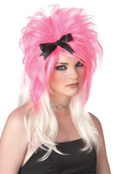 Fun costume wig - I would love to reverse the colors on this! Pink on the bottom and platinum on the top. Reminds me of when I was younger!