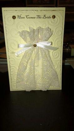 Bridal shower card, simply using lace, ribbon, bead stickers. 5 x Wedding Shower Cards, Wedding Cards, Lace Ribbon, Coups, Stampin Up Cards, Handmade Cards, Card Making, Crafting, Cricut