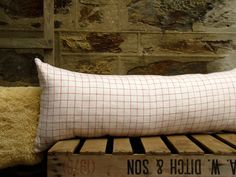 vintage French check linen with silk noil backing long cushion