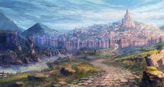 Aiming『Project Caravan』広大なフィールド&数多のキャラクターを、手描きイラスト風の3Dで表現 | インタビュー | CGWORLD.jp Fantasy Town, My Fantasy World, Fantasy Castle, Fantasy Places, Fantasy Rpg, Medieval Fantasy, Fantasy Art Landscapes, Fantasy Landscape, Landscape Art