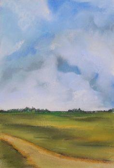 Original Pastel Painting Field under Cloudy by melindakordich, $20.00