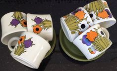 Vintage tea set cups saucers set of 6 flower by TheLittleIrishShop
