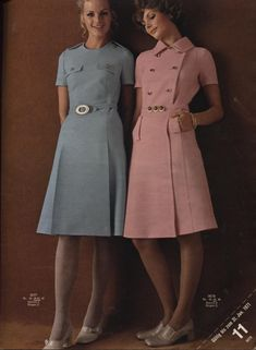 1970 Blue and Pink Dresses
