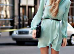 little turquoise dress. Love this style.