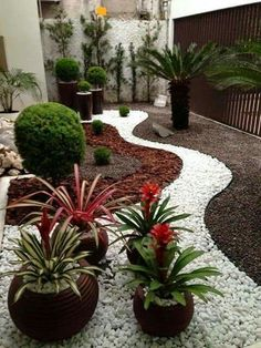 Combination of stones and bark = low maintenance and all year long attractiveness