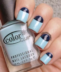 Blue half moon nails