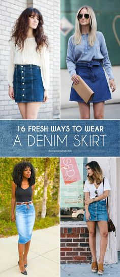 These 16 ways to wear a denim skirt are just what you need to jump on the denim-skirt bandwagon this season. Whether it's vibes or throwback check out these denim skirt outfits. Denim Skirt Outfits, Denim Outfit, Denim Skirts, Denim Fashion, Look Fashion, Fashion Outfits, Skirt Fashion, Cool Outfits, Summer Outfits