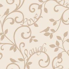 Fine Decor Live Love Laugh Scroll Wallpaper Cream / Gold - Fine Decor from I love wallpaper UK