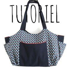 Tutoriel de couture grand sac Emma, fiche explicative, sac a langer, sac cabas original : Kits, tutoriels Couture par camille-et-louise