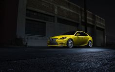 Custom Body Kit and Vossen Rims Enhancing Yellow Lexus IS-F Motorcycle Wheels, Car Wheels, Custom Body Kits, Vossen Wheels, Automobile Companies, Car Hd, Lexus Cars, Hot Rides, Japanese Cars