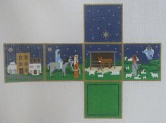 Handpainted Needlepoint Canvas Susan Roberts Nativity Stable Cube 5343-18 #SusanRoberts