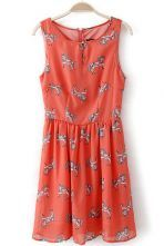 Red Sleeveless Horse Print Zipper Chiffon Dress $23.39 #SheInside @SheInside