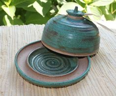 Round Lidded Cheese Dish - Butter Dish -  Butter Keeper Weathered  Green