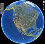 """USGS Earthquake KML Files for Google Earth, shared by John P., for """"From the Listservs"""" Column, October 2016."""