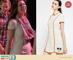 Marley's white printed dress with orange trim on Glee.  Outfit Details: http://wornontv.net/29472/ #Glee