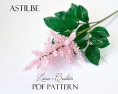 PDF Pattern - French Beaded Astilbe Flowers, DIY beading project, wire wrapping seed bead craft, Lauren's Creations patterns