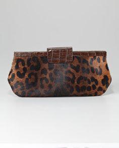 Leopard-Print Frame Clutch by Nancy Gonzalez at Bergdorf Goodman.