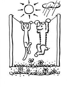 Josef Čapek: Povídání o pejskovi a kočičce Walking In The Rain, Coloring Books, Author, Advent, Illustrations, Plants, Pictures, Vintage Coloring Books, Illustration