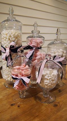 Candy Jar Set does not include candy Lolly Buffet, Centerpieces, Table Decorations, Candy Party, Mason Jar Wine Glass, Buffets, Tea Party, Birthday Parties, Tea Cups