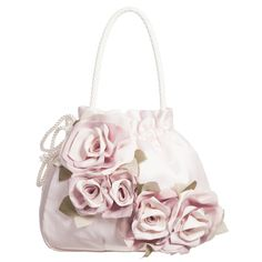 Monnalisa Pink Cotton Bag with Silk Flowers (18cm) at Childrensalon.com