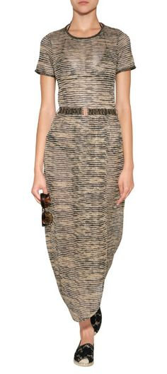 A chic way to glam up poolside, Missoni Mare's metallic knit dress features a flattering belted waist and dramatic floor-grazing length #Stylebop