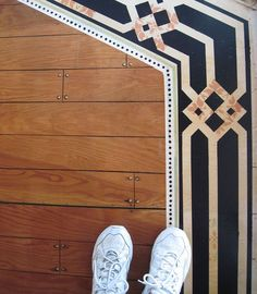 Two Months in the making.Hand painted plywood sub-flooring. After spending 15 hours pulling out carpet and padding, tack strips and padding staples, we discover…